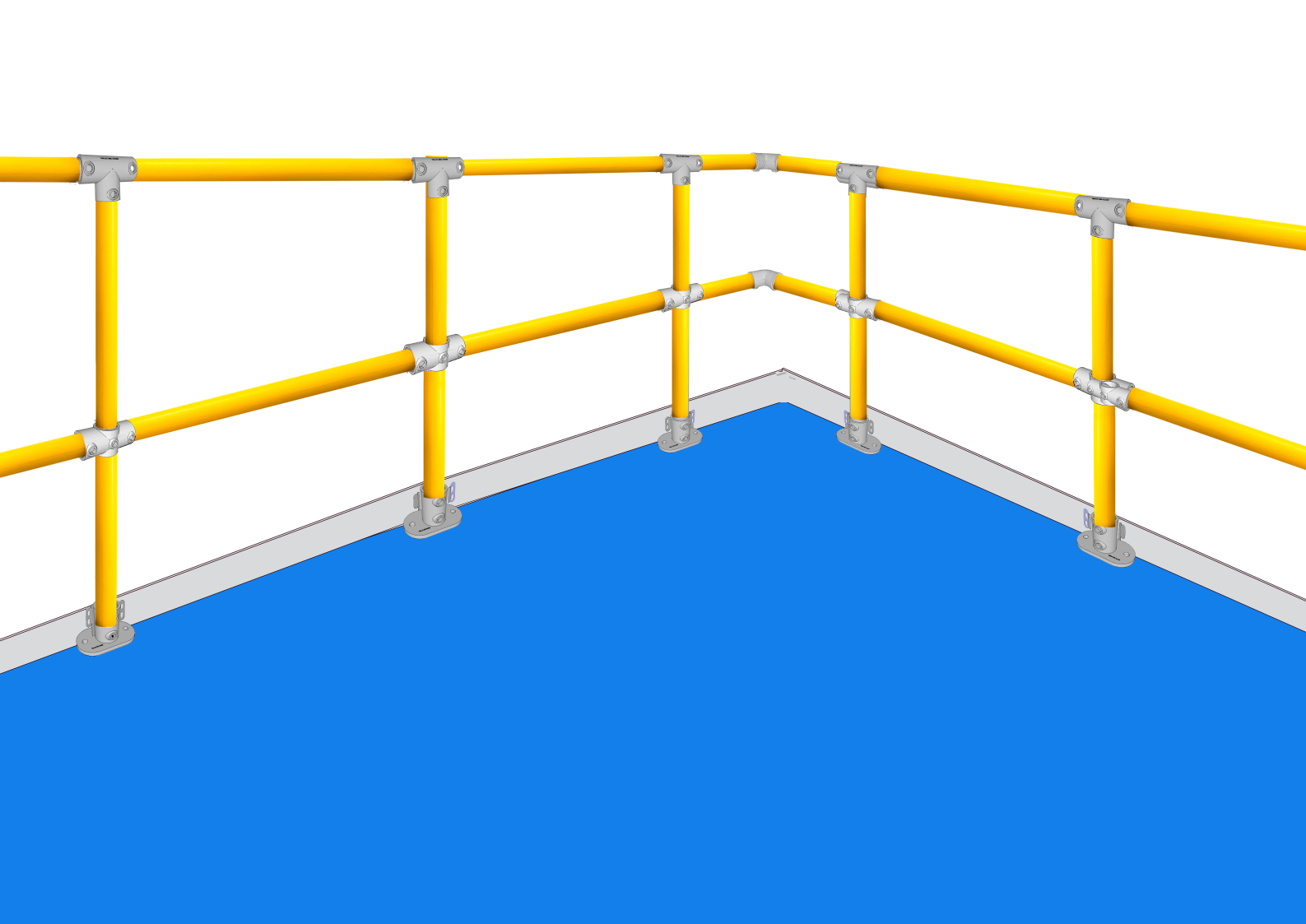 Ready-made handrails for mezzanine and platforms to BS EN ISO 14122-3:2016