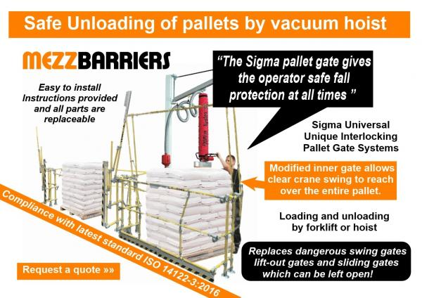 Pallet gate for loading and unloading by vacuum crane