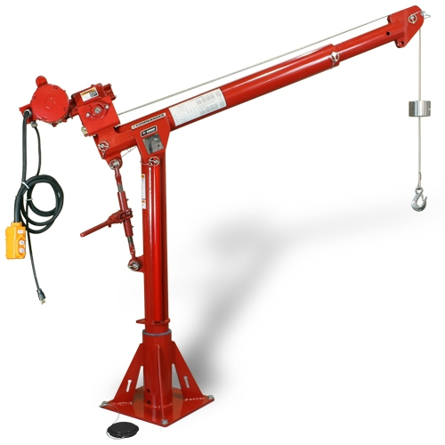 Commander 2000 — Model 5PT20 crane with 4WP2-K electric winch with 6′ pendant control and 5BP20 pedestal base