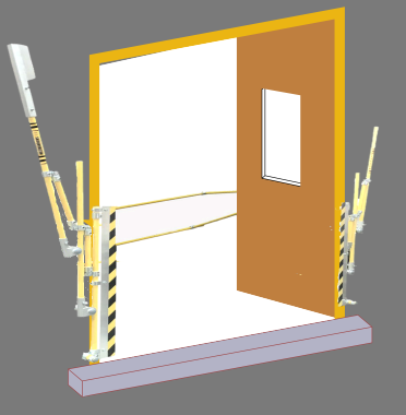 Sigma pallet gate for inward opening doors