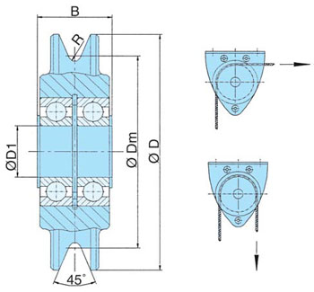DSR S Wire Rope Pulleys with Bearing