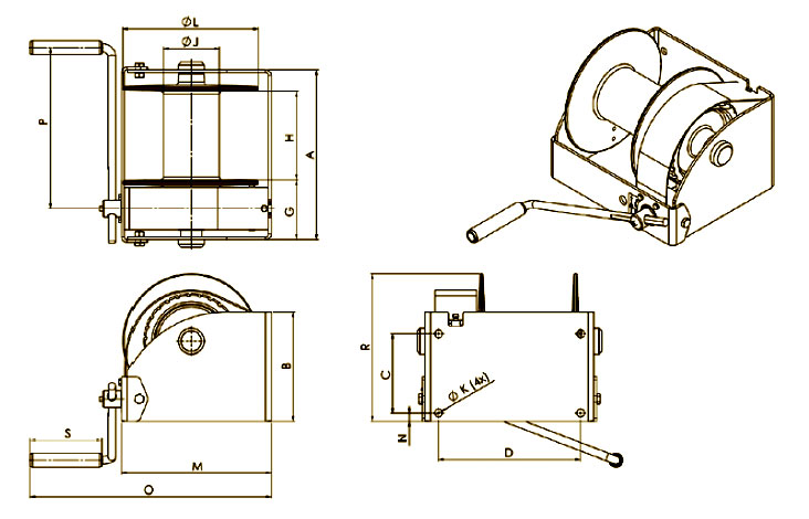 G-WG Worm gear winch