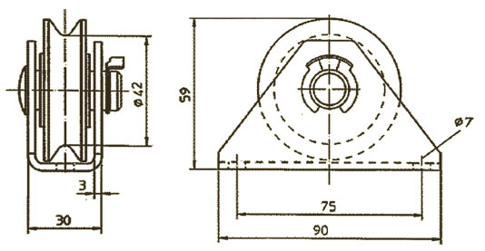 Polyamid pulley with bracket for wire rope