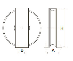 Polyamide wire rope pulley with galvanised steel bracket - 60 to ...