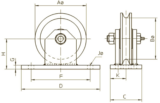 Stainless steel wire rope pulley with bracket ( PT5 ) - 500 kg capacity